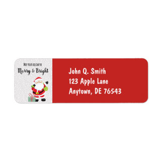Merry & Bright Santa Return Address Label