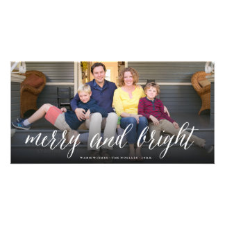 Merry & Bright Simple Script Photo Holiday Card Personalised Photo Card