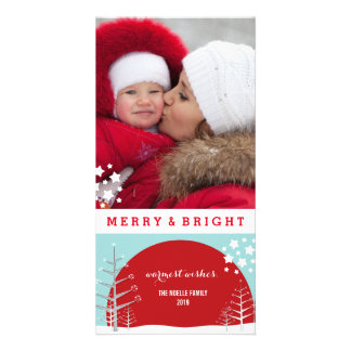 Merry & Bright Snow Trees Holiday Photo Card