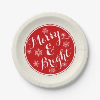 Merry & Bright Snowflake Paper Plates