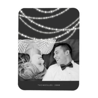 Merry & Bright Sparkles Chic Holiday Photo Magnet