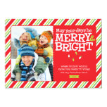 Merry & Bright Stripes Holiday Photo Card Groupon Custom Announcement