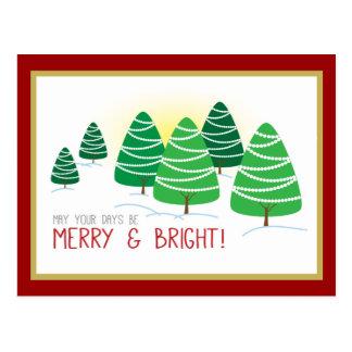 Merry & Bright Trees & White Beads Christmas Postcard