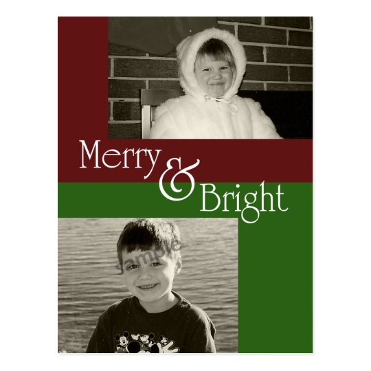 Merry & Bright  - Two photo Christmas Card