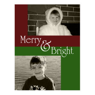 Merry & Bright  - Two photo Christmas Card Postcard