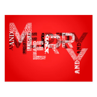 Merry & Bright Typography Holiday Postcard