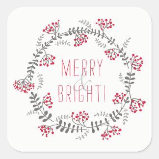 Merry & Bright Wreath Square Sticker