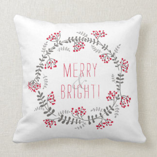 Merry & Bright Wreath Throw Pillow