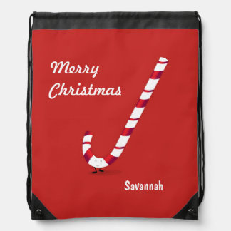Merry Candy Cane   Drawstring Backpack