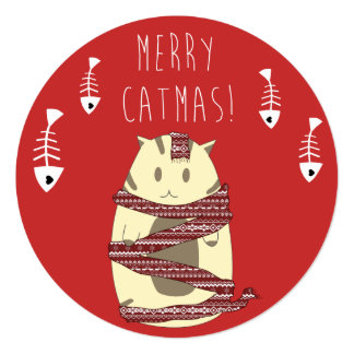 "Merry Catmas! Christmas Card for Cat Lovers 5.25"" Square Invitation Card"