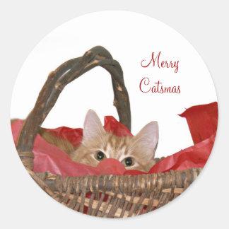 Merry Catsmas Classic Round Sticker