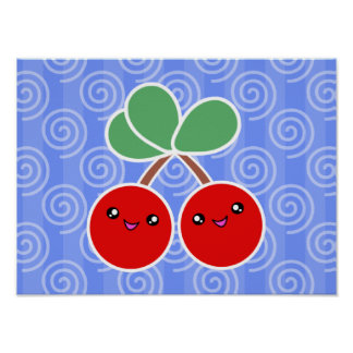 Merry Cherries Kawaii Poster