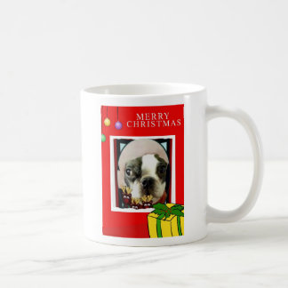 MERRY CHIRSTMAS BOSTON TERRIER LOOK COFFEE MUG