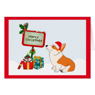 Merry Chirstmas Welsh Corgi Cartoon Card