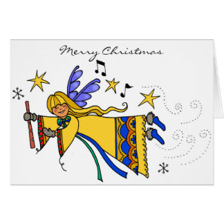 Merry Chistmas Angel Ukrainian Folk Art Card