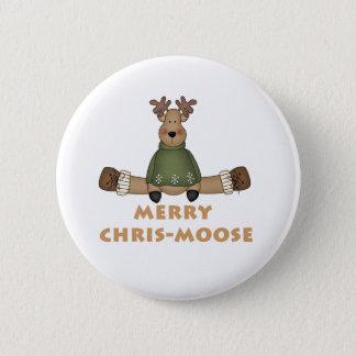 Merry Chris-Moose 6 Cm Round Badge