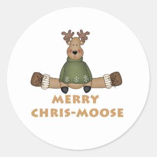 Merry Chris-Moose Classic Round Sticker