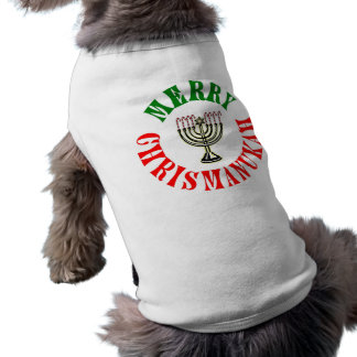 Merry Chrismanukah- Christmas Chanukah Menorah Sleeveless Dog Shirt