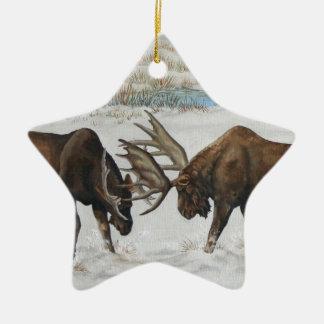 Merry Chrismoose Bull Moose Wildlife Art Ceramic Star Decoration
