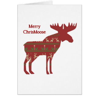 Merry ChrisMoose Funny Christmas Moose Animal Art Greeting Card
