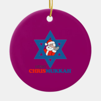 Merry Chrismukkah - Double-Sided Ceramic Round Christmas Ornament