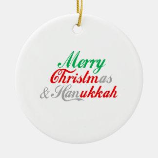 Merry Chrismukkah Round Ceramic Decoration