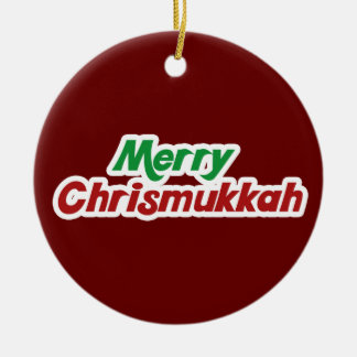 Merry Chrismukkah Round Ceramic Decoration