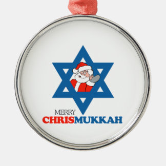 Merry Chrismukkah - Silver-Colored Round Decoration