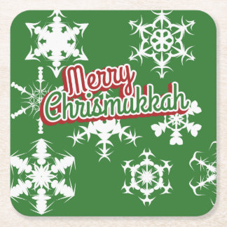 Merry Chrismukkah Square Paper Coaster