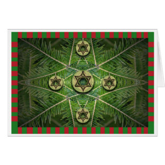 Merry Chrismukkah Tree and Star of David Ornaments Card