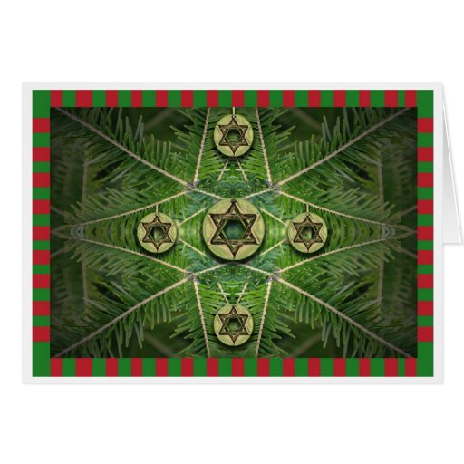 Merry Chrismukkah Tree and Star of David Ornaments Greeting Card