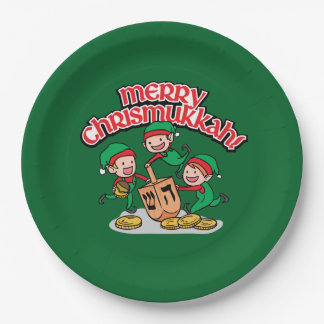 Merry Chrismukkah with Elves and Dreidels 9 Inch Paper Plate