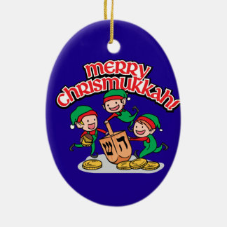 Merry Chrismukkah with Elves and Dreidels Ceramic Oval Decoration