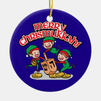 Merry Chrismukkah with Elves and Dreidels Round Ceramic Decoration