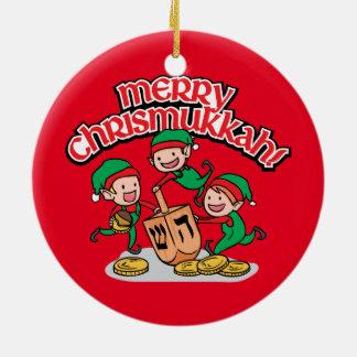 Merry Chrismukkah with Elves and Dreidels Round Ceramic Decoration