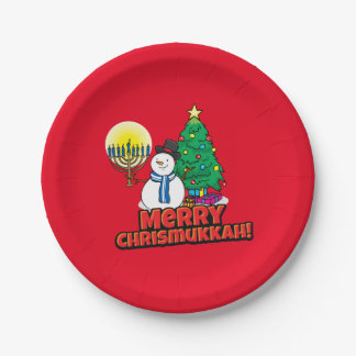 Merry Chrismukkah with Snowman and Menorah 7 Inch Paper Plate