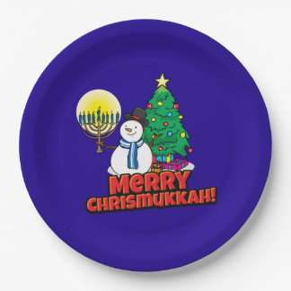Merry Chrismukkah with Snowman and Menorah 9 Inch Paper Plate