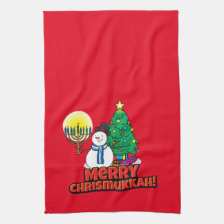 Merry Chrismukkah with Snowman and Menorah Kitchen Towels