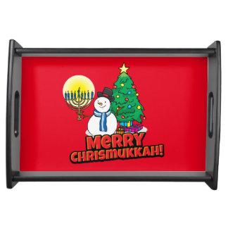 Merry Chrismukkah with Snowman and Menorah Serving Platter