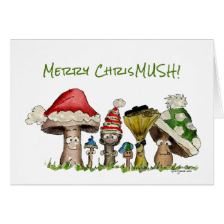 Merry ChrisMUSH Christmas Mushrooms Cartoon Card
