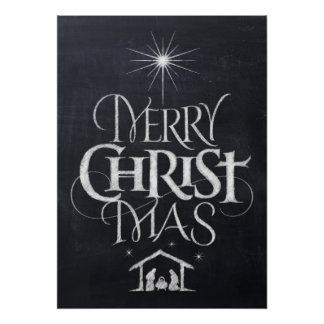 Merry Christ Mas Christian Christmas Black Chalk Poster