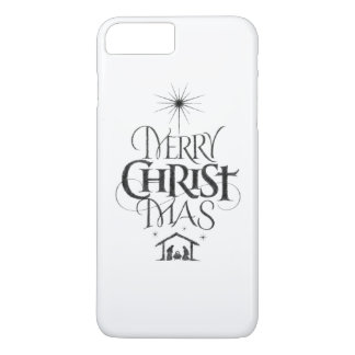 Merry Christ Mas Religious Christmas Calligraphy iPhone 8 Plus/7 Plus Case