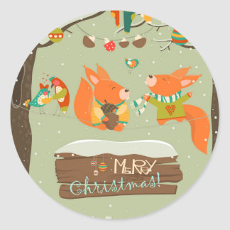 merry christma Illustration card foxes Round Sticker