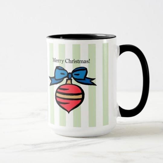 Merry Christmas 15 oz. Ringer Mug Pink/Blue