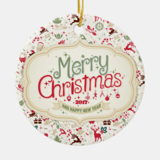 Merry Christmas 2017 Round Ornament