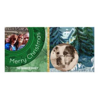 Merry Christmas 2 Photo Green Blue Snow Scene Customised Photo Card