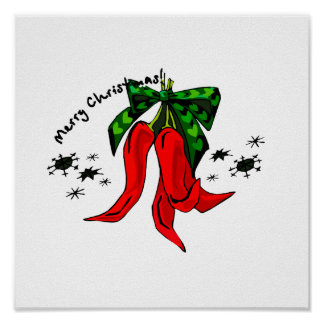merry christmas 2 red pepper design posters