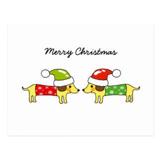 Merry Christmas 2 sausage dogs Postcards