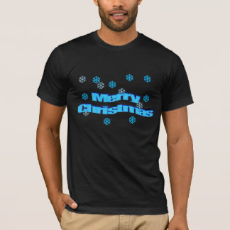 Merry Christmas 3D Ice Blue w Snowflakes T-Shirt