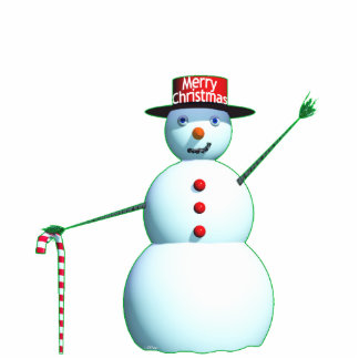 Merry Christmas 3D Snowman Standing Photo Sculpture